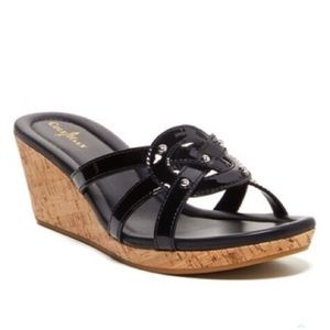 Cole Haan Black Patent Leather Wedge Sandal